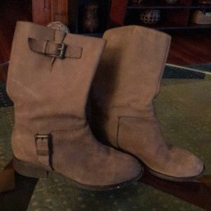 Taupe Cole Haan moto boots